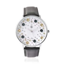 STRADA Japanese Movement Multi Colour Austrian Crystal Studded Water Resistant Watch with Green Colo