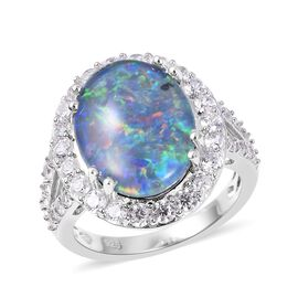 Boulder Opal 16x12mm and Cambodian Zircon Halo Ring in Rhodium Plated Sterling Silver 4.30 Grams