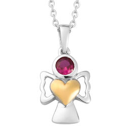 Simulated Ruby Pendant With Chain (Size 20) in Yellow Gold and Platinum Overlay Sterling Silver