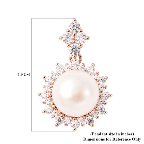 Freshwater White Pearl and Simulated Diamond Pendant in Rose Gold Overlay Sterling Silver