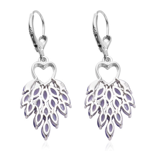 AA Tanzanite (Mrq) Heart Lever Back Dangle Earrings in Platinum Overlay Sterling Silver 5.00 Ct.