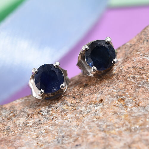Kanchanaburi Blue Sapphire (Rnd) Stud Earrings (with Push Back) in Platinum Overlay Sterling Silver 0.750 Ct.