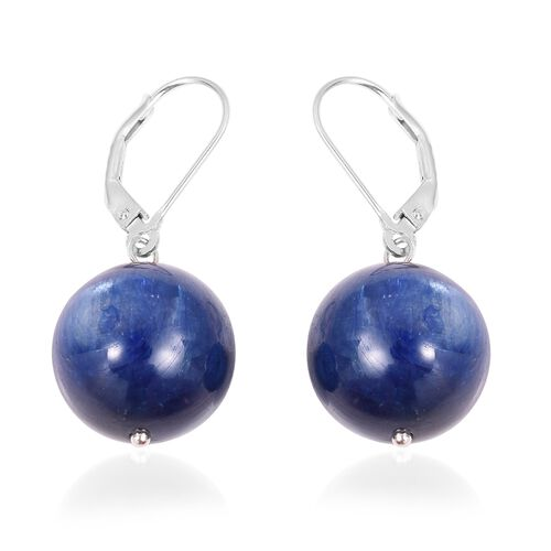 Signature Collection- AAAA Top Lustre Kashmir Blue Colour  Himalayan Kyanite (Rnd 15 mm) Earrings (with Lever Back) in Rhodium Overlay Sterling Silver