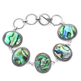 Royal Bali Abalone Shell Bracelet with T-Bar Clasp in Silver 11 Grams 6 with 1 inch Extender