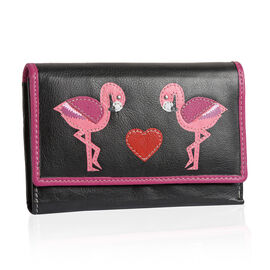 100% Genuine Leather Black, Pink and Multi Colour Swan and Heart Pattern RFID Blocker Ladies Wallet (Size 15x10x2 Cm)