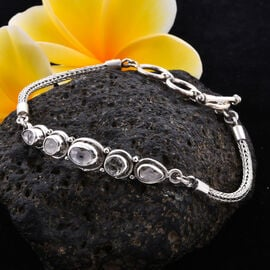 Royal Bali Collection Polki Diamond Tulang Naga Bracelet (Size 7.5) in Sterling Silver 1.35 Ct, Silv