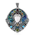 Princess Bali 13.21 Ct African Ruby and Multi Gemstone Carved Face Pendant in Silver 22.59 Grams