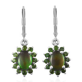 AA Canadian Ammolite (Ovl), Russian Diopside Lever Back Earrings in Platinum Overlay Sterling Silver