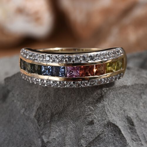 9K Yellow Gold AAA Rainbow Sapphire (Princess), Natural Cambodian Zircon  Ring 2.000 Ct.Gold Wt 3.00 Gms