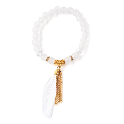 3 Piece Set - STRADA Japanese Movement Watch Simulated White Agate and Multi Gemstone Beaded Bracelets with Heart and Feather Charm in Gold Tone