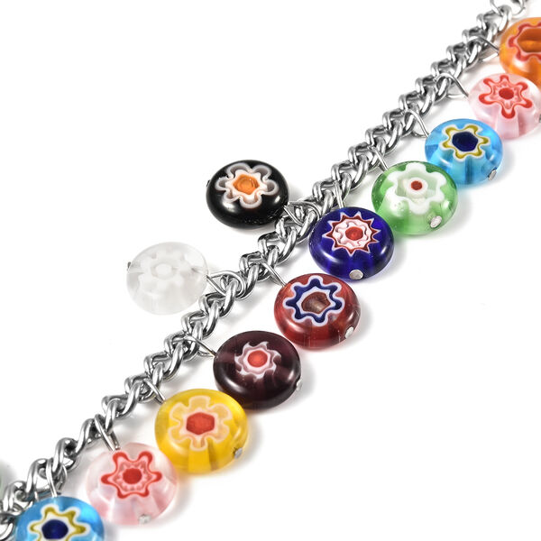 Multi Colour Murano Bead Charm Bracelet (Size 9 with Extender) in Stainless Steel