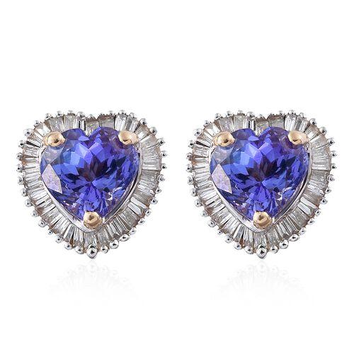 Designer Inspired- 9K Yellow Gold Tanzanite (Hrt), Diamond ( G to H ) Stud Earrings (with Push Back) 2.750 Ct.