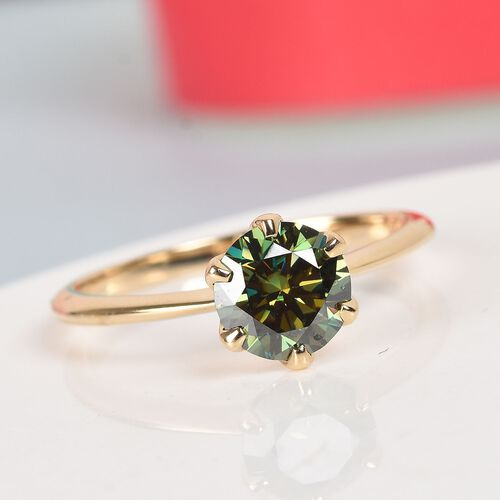Collectors Edition- 9K Yellow Gold AAA Green Moissanite Solitaire Ring 1.00 Ct.
