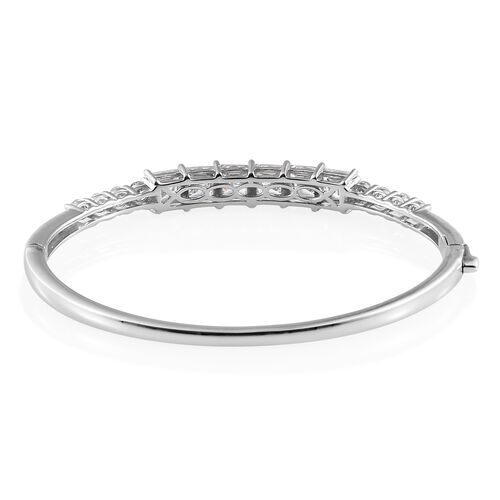 J Francis Platinum Overlay Sterling Silver Bangle (Rnd and Sqr) (Size 7.5) Made with SWAROVSKI ZIRCONIA.Silver Wt 18.59 Gms