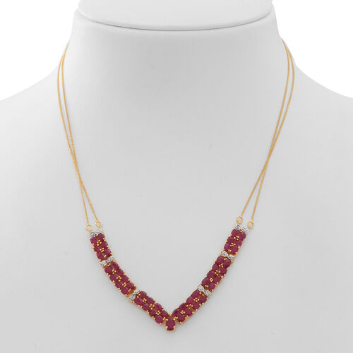 Limited Edition-Burmese Ruby (Ovl), Natural White Cambodian Zircon Necklace (Size 20) in 14K Gold Overlay Sterling Silver 11.000 Ct. Silver wt 9.00 Gms.