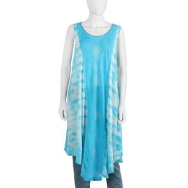 Sequin Embellished Tie-Dye Umbrella Dress with Two Side Pockets (One Size; L=105 Cm) - Turquoise