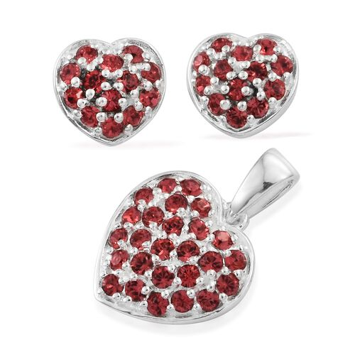 J Francis Crystal from Swarovski - Pink Crystal (Rnd) Heart Pendant and Stud Earrings (with Push Back) in Sterling Silver