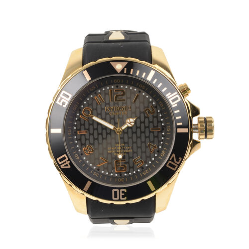 KYBOE Japanese Movement 100M Water Resistant Gold Shade LED Watch in Stainless Steel with Rotating B