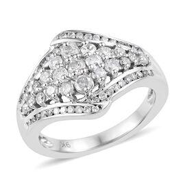 9K White Gold SGL Certified Diamond (Rnd) (I2-I3/ G-H) Cluster Ring 1.001 Ct.