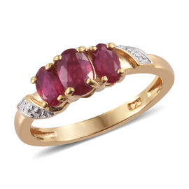 African Ruby (Ovl) Ring in 14K Gold Overlay Sterling Silver 1.250 Ct.
