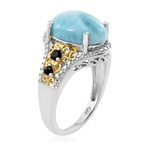 Larimar (Ovl 6.25 Ct), Kanchanaburi Blue Sapphire Ring in Platinum Overlay Sterling Silver 6.500 Ct.