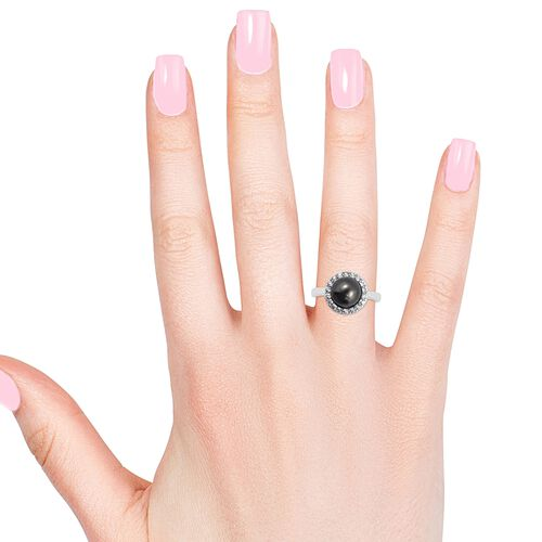 Tahitian Pearl (Rnd 10.5-11 mm), Natural White Cambodian Zircon Ring in Rhodium Overlay Sterling Silver