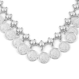 Dangling Coin Charm Necklace (Size 20 with Extender) in Silver Tone