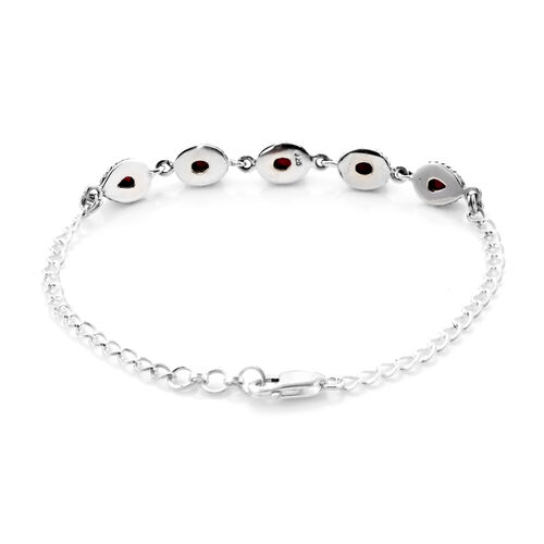 Royal Bali Collection African Ruby Bracelet (Size 7.5 with 0.5 inch Ext.) in Sterling Silver 3.33 Ct.