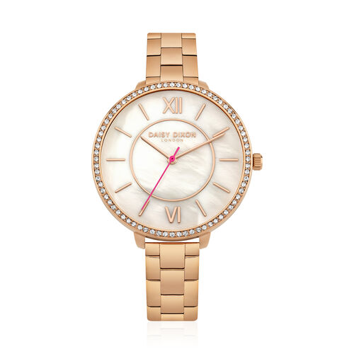 Limited Edition Daisy Dixon Bella Watch With Stone Set Bezel And Mother of Pearl Dial