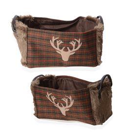 Set of 2 - Plaid Pattern Storage Basket  with Faux Fur - Brown Colour