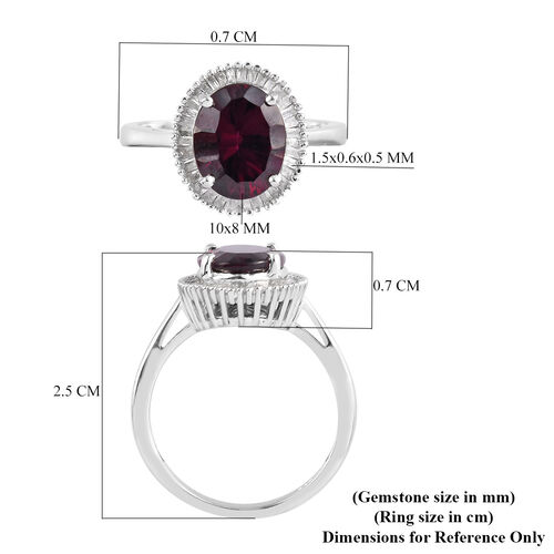 Rhodolite Garnet and Diamond Halo Ring in Platinum Overlay Sterling Silver 3.50 Ct.