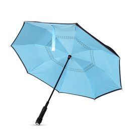 Blue and Black Colour Reverse CLosing Umbrella with  LED Light on handle (Size 80.5 Cm)