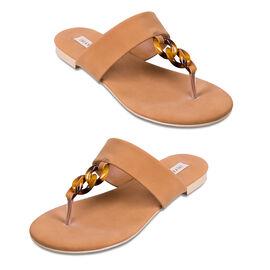 Inyati Leandra Open Toe Slip On Sandals in Toasted Nut