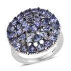 Tanzanite (Trl and Rnd) Cluster Ring (Size M) and Platinum Overlay Sterling Silver 3.540 Ct, Silver wt 5.40 G