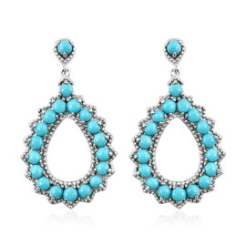 Arizona Sleeping Beauty Turquoise (Rnd) Drop Earrings (with Push Back) in Platinum Overlay Sterling Silver 4.500 Ct. Silver wt 7.28 Gms.
