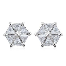 J Francis - Platinum Overlay Sterling Silver (Trl) Stud Earrings (with Push Back) Made with SWAROVSKI ZIRCONIA