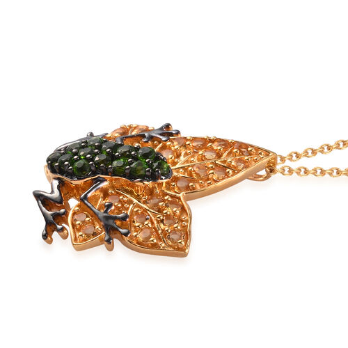 GP Russian Diopside (Rnd), Citrine and Blue Sapphire Frog on Maple Leaf Pendant with Chain (Size 18) in Platinum and Yellow Gold Overlay Sterling Silver 2.270 Ct, Silver wt 8.40 Gms.