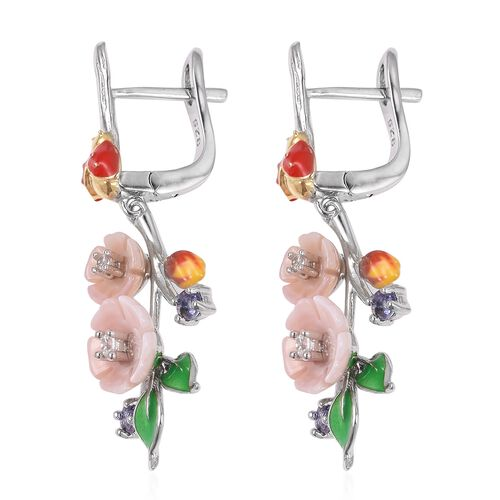 JARDIN COLLECTION - Pink Mother of Pearl, Tanzanite and Natural White Cambodian Zircon Floral Enameled Earrings (with Clasp Lock) in Rhodium and Gold Overlay Sterling Silver, Silver wt 5.62 Gms