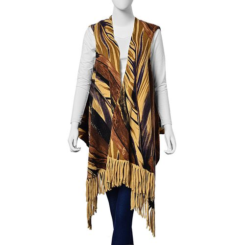 Dark Chocolate and Black Colour Leaves Pattern Poncho with Tassels (One Size for All)