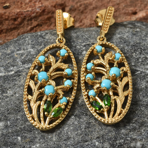 SLEEPING BEAUTY TURQUOISE (0.90 Ct),Russian Diopside 14K Gold Overlay Sterling Silver Earring  1.250  Ct.