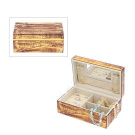 Tiger Eye Gemstone Jewellery Storage Box with Golden Rim and Inside Mirror (Size 21x13x8.5 cm)