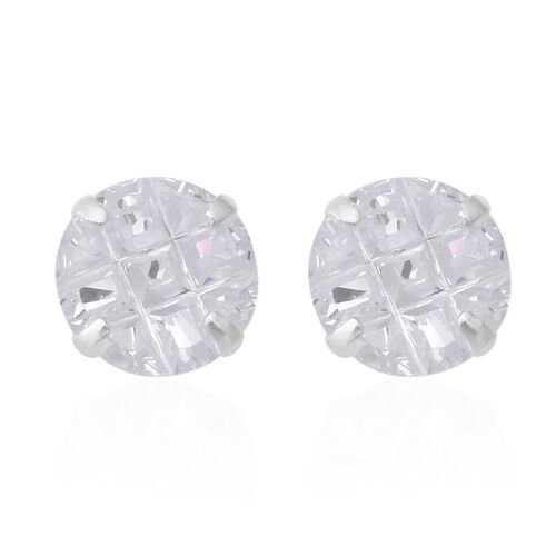 2 Piece Set - ELANZA Simulated Diamond (Sqr and Rnd) Earrings (with Push Back) in Sterling Silver