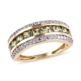 9K Yellow Gold AA Russian Demantoid Garnet (Rnd), Natural Cambodian Zircon Band Ring (Size M) 2.00 Ct., Gold