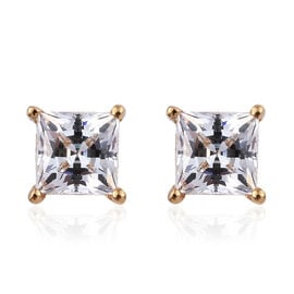 J Francis - 14K Gold Overlay Sterling Silver (Sqr) Stud Earrings (with Push Back) Made with SWAROVSK