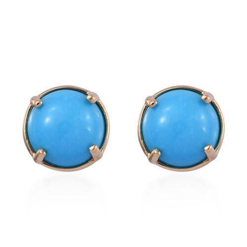 ILIANA 3.7 Ct AAA Arizona Sleeping Beauty Turquoise Solitaire Stud Earrings in 18K Gold 1.23 Grams