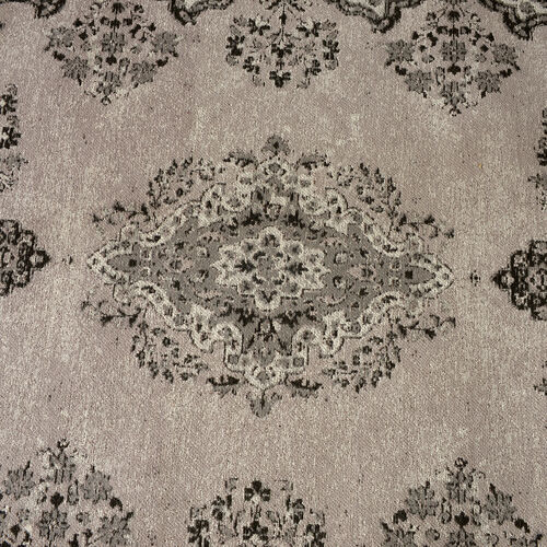 Premium Jacquard Woven 95% Cotton Chenille Area Rug with Medallion in Light Grey and Multi Colour (Size 200x140 Cm)