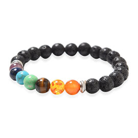 Lava and Multi Gemstones Beaded Stretchable Bracelet (Size 6.5) Silver Plated 80.00 Ct.