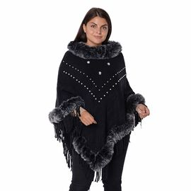 Faux Fur Collar and Border Free Size Poncho with Tassels (L-75 Cm) - Black