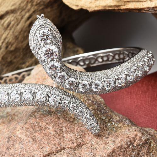 J Francis - Platinum Overlay Sterling Silver (Rnd) Serpentine Bangle (Size 7.5) Made with SWAROVSKI ZIRCONIA, Silver wt 29.00 Gms.Number of Swarovski 222 (Equivalent Ct. wt 9.812)