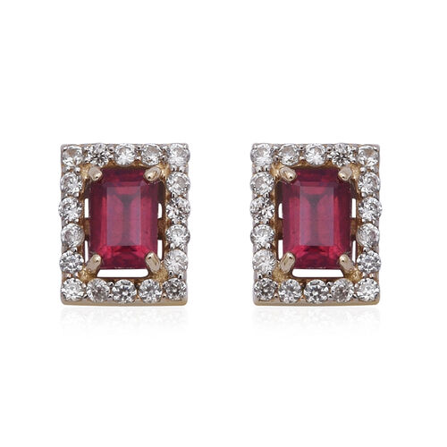 9K Yellow Gold AAA African Ruby (Oct 6x4mm), Natural Cambodian Zircon Stud Earrings (with Push Back)